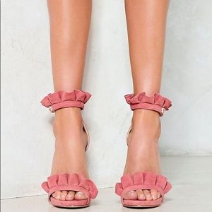 c9190dece450 Nasty Gal Shoes - Nasty Gal Time to Dance Ruffle Heel Blush